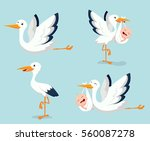 cartoon cute stork carrying... | Shutterstock . vector #560087278