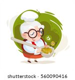 grandmother cooking lentils for ... | Shutterstock .eps vector #560090416