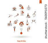 happy birthday icons set.... | Shutterstock .eps vector #560091073