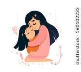mom love. sweet pink warm  card ... | Shutterstock .eps vector #560102233
