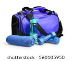 sports bag with sports... | Shutterstock . vector #560105950