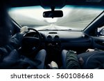 driving a car on winter road....   Shutterstock . vector #560108668