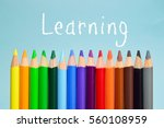 learning text on background... | Shutterstock . vector #560108959