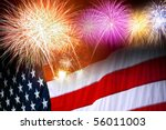 The American flag and fireworks in the independence day celebration - stock photo