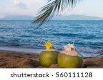 Stock photo two drinking coconut on sand koh samui thailand 560111128