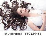 spring beauty consept. portrait ... | Shutterstock . vector #560124466
