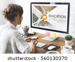 distance learning online... | Shutterstock . vector #560130370