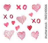 hand drawn red hearts isolated... | Shutterstock .eps vector #560140066