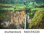 sipiso piso waterfall on the... | Shutterstock . vector #560154220