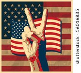 The Victory Sign With Usa Flag...