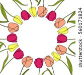 round frame with tulips | Shutterstock .eps vector #560171824