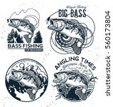 vintage bass fishing emblems... | Shutterstock .eps vector #560173804