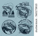 vintage bass fishing emblems... | Shutterstock .eps vector #560173810