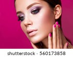 beauty fashion model girl with... | Shutterstock . vector #560173858