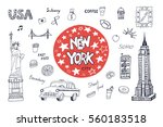 new york city illustrations set. | Shutterstock .eps vector #560183518