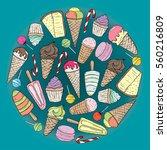 ice cream  cupcake  cheesecake  ...   Shutterstock .eps vector #560216809