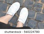 Woman Wearing White Shoes ...