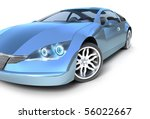 Blue sport car .3D image. My own design - stock photo