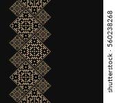 golden frame in latvian style.... | Shutterstock .eps vector #560238268