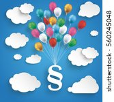 paper clouds and hanging... | Shutterstock .eps vector #560245048