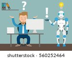 businessman cartoon with robot... | Shutterstock .eps vector #560252464