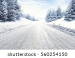 Winter Road And Snow With...
