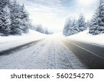 winter road and snow with... | Shutterstock . vector #560254270