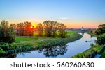 River Water Sunset Landscape