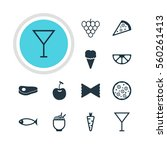 illustration of 12 food icons.... | Shutterstock . vector #560261413