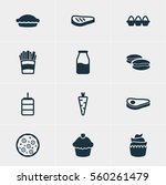 illustration of 12 food icons.... | Shutterstock . vector #560261479