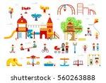 set of children playground... | Shutterstock .eps vector #560263888
