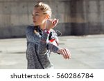 portrait of fit and sporty... | Shutterstock . vector #560286784