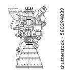 rocket engine drawing on black... | Shutterstock .eps vector #560294839