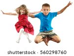 children looking down jumping... | Shutterstock . vector #560298760