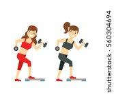 girls exercising with dumbbells ... | Shutterstock .eps vector #560304694