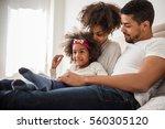 african american family bonding ... | Shutterstock . vector #560305120