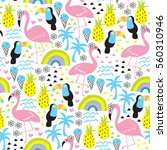 seamless tropical flamingo and... | Shutterstock .eps vector #560310946
