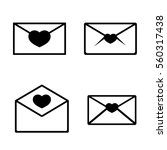set envelope icon  valentines...