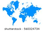 blue map of continents | Shutterstock .eps vector #560324734