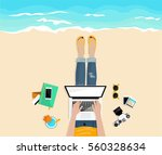 freelance. work outside.... | Shutterstock .eps vector #560328634
