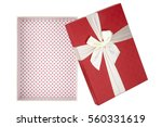 red gift box  white ribbon ... | Shutterstock . vector #560331619