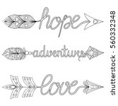 bohemian arrows hand painted... | Shutterstock .eps vector #560332348