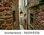 Narrow Street With Stone House...