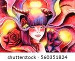 beautiful smiling girl ... | Shutterstock . vector #560351824