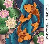carp koi fish swimming in a... | Shutterstock .eps vector #560353918