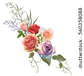 illustration of flower on color ...   Shutterstock . vector #560358088