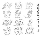 Stock vector cute cats of different actions vector sketch set on a white background 560362264