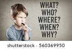 boy asking five w questions for ... | Shutterstock . vector #560369950