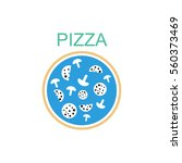 pizza with salami and mushrooms.... | Shutterstock .eps vector #560373469