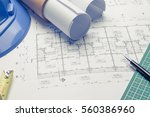 architectural plans project... | Shutterstock . vector #560386960